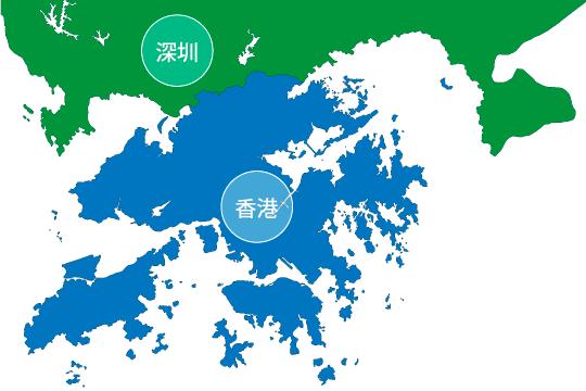 深センと香港の地図