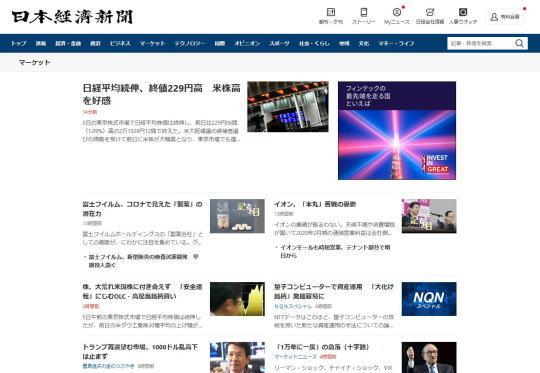 日経新聞マーケットトップページ