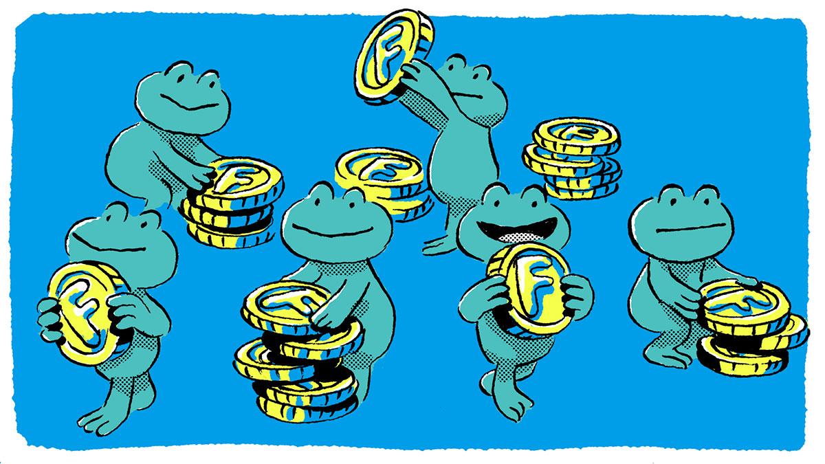 コインを手に取るカエル